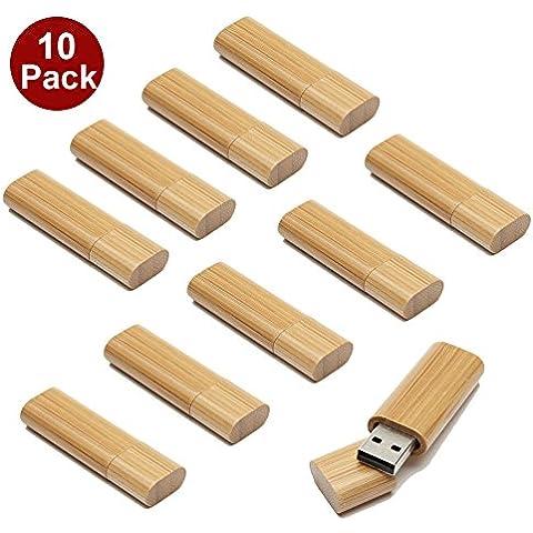 A Plus+ 10 Pezzi Chiavette USB da 8 GB Bambù con Tappo Magnetico USB 2.0 Flash Pen Drive - Carving Capo