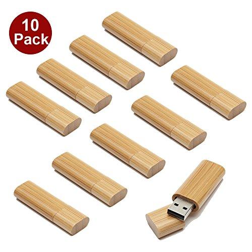 A Plus+ 10 Stück USB 3.0 16GB Flash Drive Speicherstick USB-Flash-Laufwerk Aus Bambus Einzigartiges Geschenk (10er Pack)