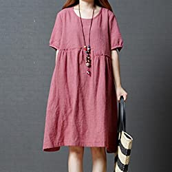 Women Bohe Dress, ❤️ Familizo Clearance Women Half Sleeve O Neck Floral Patchwork Cotton Linen Loose Bohe Casual Dress Fashion Solid Knee-Length Skirt