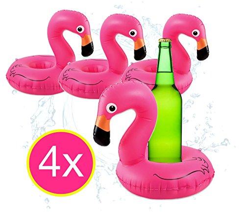 4x aufblasbarer schwimmender Getränkehalter Halter Flamingo aufblasbarer Unicorn Luftmatratze für Wasser, Pool, Strand, Schwimmband Getränke und Cocktails