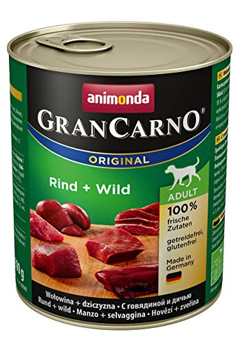 animonda GranCarno adult Hundefutter, Nassfutter für erwachsene Hunde, Rind + Wild,  6 x 800 g