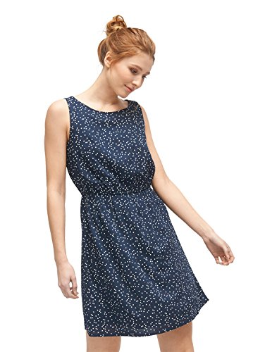 TOM TAILOR DENIM Damen Kleid Easy Print Dress, Blau (True Dark Blue 01 6416), X-Small