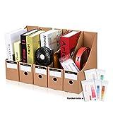 CAVEEN Porte-revues 5 Pièce Kraft Papier Range-revue DIY Etagère de Rangement Organisateur pour Papier A4 Dossier CD Magazine Livre Kaki