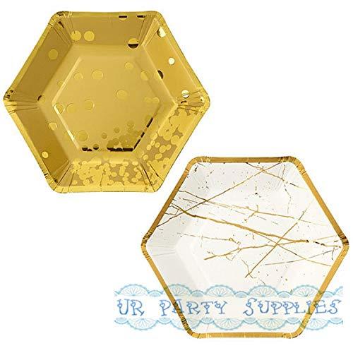 Freies Verschiffen 24 Stücke Goldfolie Sechseckige Geformte Party Platten Metall Gold Polka Dot Linien Papier Platten Kleine 18 Cm Für Geburtstag