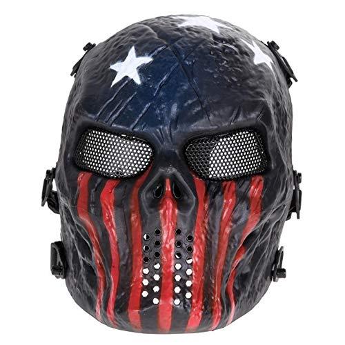 TH999 Halloween-Party-2019 Paintball-Masken-Schädel Vollgesichtsmaske Spiele im Freien Metal Mesh-Augen-Schild Kostüm Supplies Große Maske Geistermaske (Color : Gold)