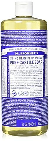 Dr. Bronner's Magic Soaps Pure-Castile Soap, 18-in-1 Hemp Peppermint, 32-Ounce Bottle