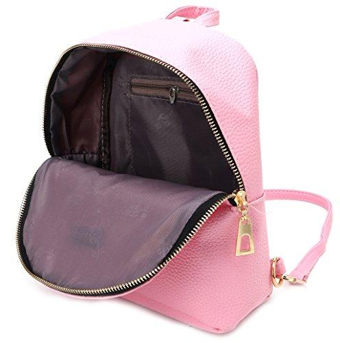 Dairyshop Zaino di cuoio delle donne di modo Sacchetto di spalla dello zaino della borsa della borsa di viaggio zaino donna (Grigio) Rosa