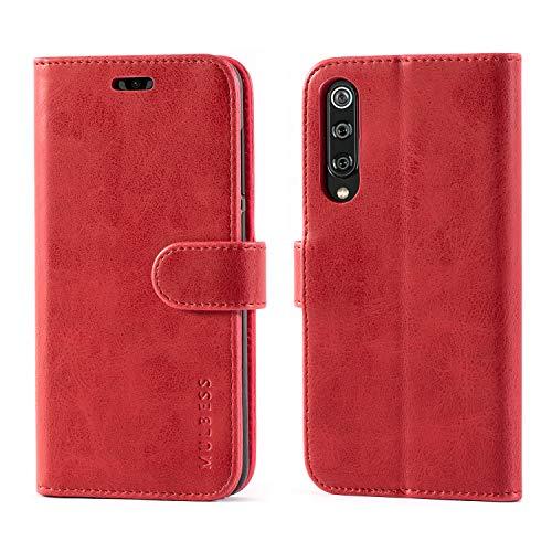 Mulbess Funda para Xiaomi Mi 9 SE, Funda Cartera Xiaomi Mi 9 SE, Funda Cuero con Tapa, Funda Libro para Xiaomi Mi 9 SE Case, Vino Rojo