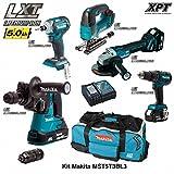 MAKITA Kit MST5T3BL3 18V (DHR243 + DTD148 + DGA504 + DHP480 + DJV182 + 3 x 5,0 Ah + DC18RC + Trolley)