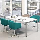 PROFI Besprechungstisch 160x80cm NOVA U 4-6 Pers. Konferenztisch Meetingtisch , Gestellfarbe:Silber