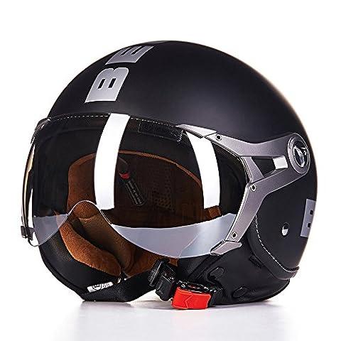Beon Motorcycle Helmet Scooter Motorbike Front Half Face Retro Helmet Matte Black Size M L XL