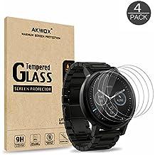 [4 Unidades] Protector de Pantalla para Moto 360 1st and 2nd Gen 46mm Smart Watch Akwox [9H Dureza] Cristal Vidrio Templado para Motorola Moto 360 46mm Cristal Templado