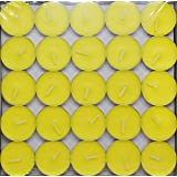 Saubhagya Global Lemon Yellow Unscented Smokeless Wax Tea Light Candle Pack Of 50 Pcs