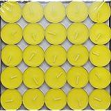 Saubhagya Global Lemon Yellow Unscented Smokeless Wax Tea Light Candle Pack Of 50 Pcs