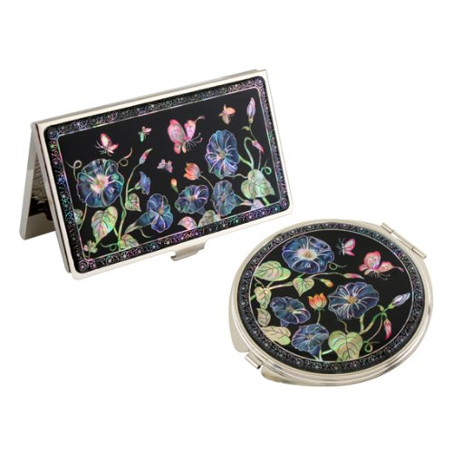 Set Miroir de Poche + Porte cartes de visite Nacre Collection fleur CONVOLVULVUS