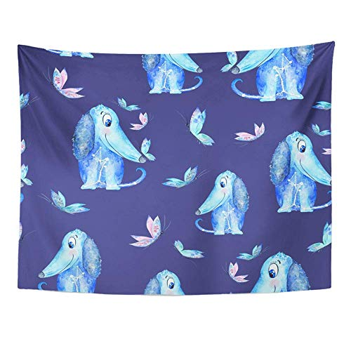 AOCCK Wandteppiche Wall Hanging Blue Dog Patternseamless with Watercolor Azure Puppy and Butterflies on Indigo 60