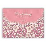 Wunderbare Vintage Einladungskarte mit Retro Kirschblüten Muster in rosa für Mädchen: Einladung zur Kommunion