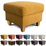 Cavadore Hocker Finja / Polsterhocker im Landhausstil / Fußbank für's Wohnzimmer passend zum Sessel Finja / 59 x 47 x 59 / Webstoff Gelb