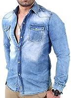 Reslad Herren Vintage Used Look Jeanshemd Langarm Jeans Hemd RS-7109 Blau