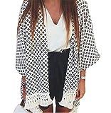 Dame Retro Boho Blumenspitze Cardigan Hippie Kimono Mantel Bluse Cape Top (EU 34, A)