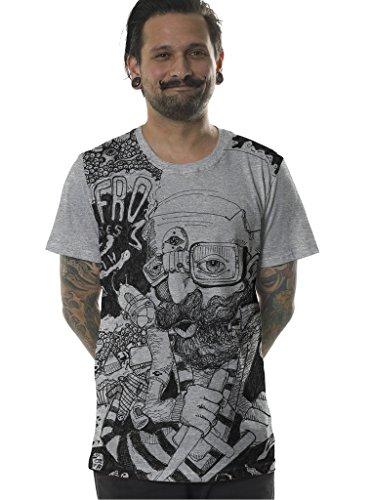Street Habit Herren Grafik T-Shirt Afro Weltraum Kunstdruck Urban Skateboarder Top Grau
