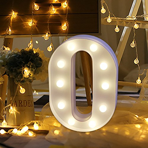EARS In Lights Decoration Light Alphabet White Letters LED Marquee Sign Battery Operated Fairy String Lights for Party Wedding -Lichter des Holiday Home and Bath Bridal Decor Buchstabe (O)