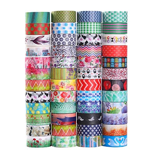 Decorativo Washi tape 48 rotoli di nastro adesivo, larghezza 15 mm per fai da te scrapbooking ufficio party supplies regalo