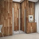 Porte de douche pivotante 100x195 cm verre anticalcaire installation en niche les vitres peuvent tourné à 180°