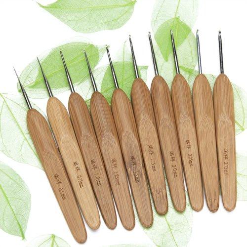 Set 10Stk.Metall häkeln Hooks mit Bambus Griffe 0,5-2.75mm - Dreads Häkelnadel Die