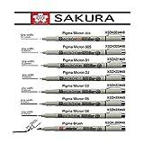 Sakura penna ad inchiostro Pigma Micron pen, in blister di carta, Black, Set.003.005,01,02,03,05,08, Brush