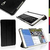 "igadgitz Negro PU Cuero Funda para Samsung Galaxy Tab S 8.4"" SM-T700 con Soporte Multi-Angle + Auto Sleep/Wake + Protector Pantalla"