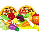 Free fisher Giocattoli - Gioco di Imitazione Cucina - Pizza, Frutta e Verdura in Plastica da Tagliare, Set 24 Pezzi