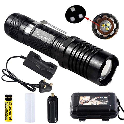 garberiel 3-t63000Lumen 18650Taschenlampe Wasserdicht Zoomable LED Taschenlampe 5Modi Fokus Taschenlampe für Camping Wandern Angeln anpassen (Teig und Ladegerät enthalten)