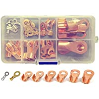Set de terminales con anilla para cables, con cuerpo abierto, de cobre, de 20A a 200A, 36 unidades
