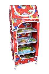 Ehomekart Red 5 Shelves Almirah for Kids