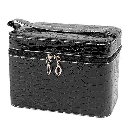 Vococal® Pu Pierre Cuir Motif Maquillage Cosmetic Box/Case/Valise-Sac de Toilette Organisateur de Stockage-Noir