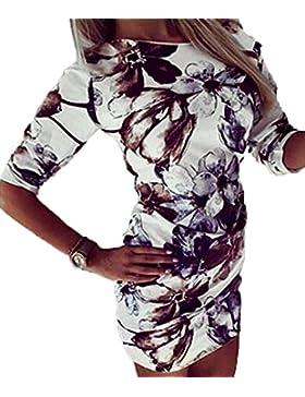 Verano Vestidos Mujer Slim Impresión Apretado Corto Vestidos de Partido Coctel Fiesta Vacaciones Fashions Cuello...