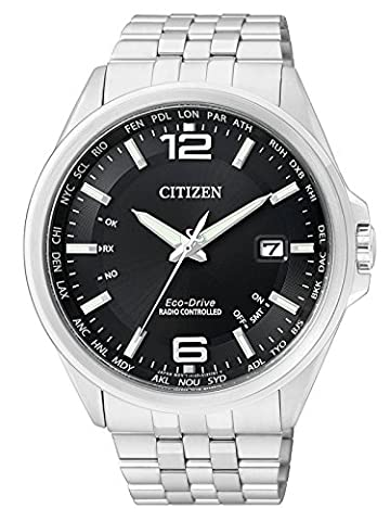 Citizen Montre pour homme XL Radio Montres à quartz analogique en acier inoxydable CB0010–88E - Citizen Eco Drive Mens Chronograph