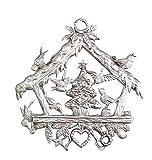 Vogelhäuschen Beidseitig von Hand patiniert als Zinnfigur, Baumbehang, Weihnachtsanhänger, Weihnachtlicher Zierschmuck