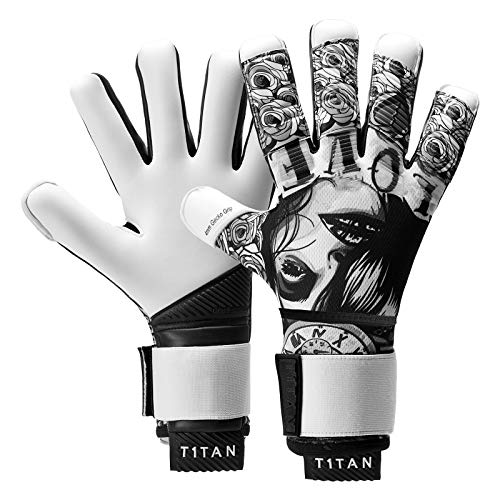 T1TAN Tattoo Beast Torwarthandschuhe mit Fingerschutz, Fußballhandschuhe Herren & Erwachsene - 4mm Profi Grip - Gr. 7