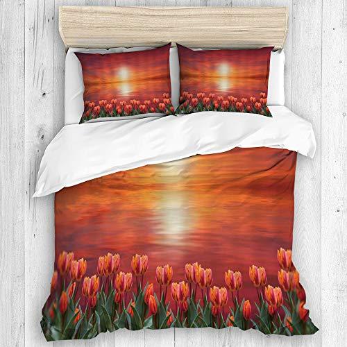 ALLMILL Bedding Bedrucktes Bettbezug-Sets,Blume Tulip Sunset Reflecting Lake Water Painting,Mikrofaser Kinder Student Schlafsaal Bettwäsche Set (1 Bettbezug + 2 Kissenbezüge)