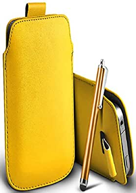 Great Deals on Click Sales®, Nokia lumia 520, PU PULL TAB, Flip Grip Protective POUCH WALLET SKiN POCKET LEATHER CASE COVER + Stylus Pen (YELLOW)
