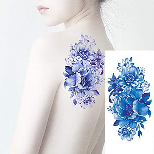 Tzxdbh 5 pz 1 pz/donna uomo fai da te body art tatuaggio hennè 3d realistico cherry blossoms rosa grandi fiori sesso impermeabile tatuaggi temporanei