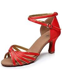 T.T-Q Zapatillas de Baile para Mujer de Mujer Samba Satin Heel Negro Marrón Rojo Sandalias Latinas de Varios Colores...
