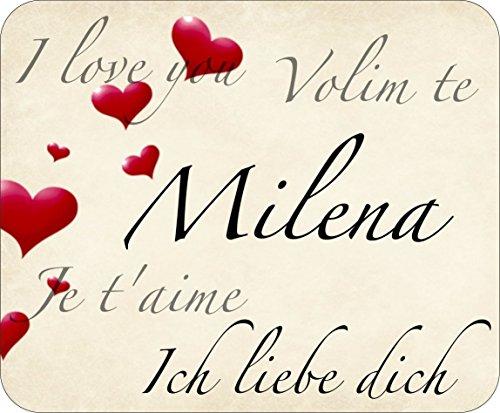 Mousepad bedruckt mit I love you, Ich liebe dich, je t'aime, Volim te Milena