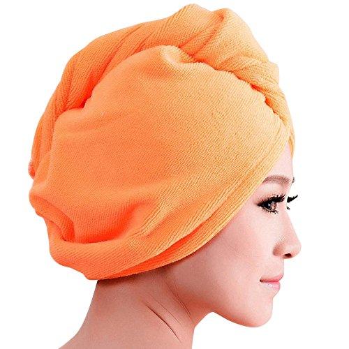 BakeLIN Mikrofaser Haare Turban Haartuch knopf Turbanhandtuch Ultra saugfähig Kopftuch Handtücher (Orange) (Weichspüler Haar)