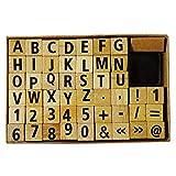1 a-Becker 49 Pezzi Set timbri incl. Timbro in Legno con Lettere dell'alfabeto e Numeri ABC