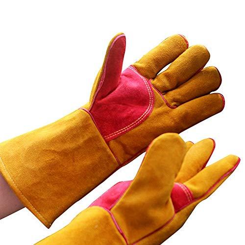 Schweißhandschuhe Leder Multifunktions Schweißen Löten Handschuhe Für MIG WIG ARC MMA Handschuhe Für Ofen Grill Kamin Ofen Hitzebeständige Sicherheit Arbeitshandschuhe Topflappen Wig Schweißer Mig BBQ - Arc Kamin