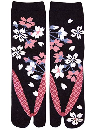Damen Tabi Socken Zehensocken Sakura Kirschblüten bei Nacht