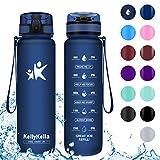 KollyKolla Trinkflasche - BPA-frei Auslaufsicher Sport Wasserflasche, 1L Tritan Sportflasche Kohlensäure Geeignet Kunststoff mit Filter für Kinder, Schule, Baby, Fahrrad, Gym, Büro, Matte Marine